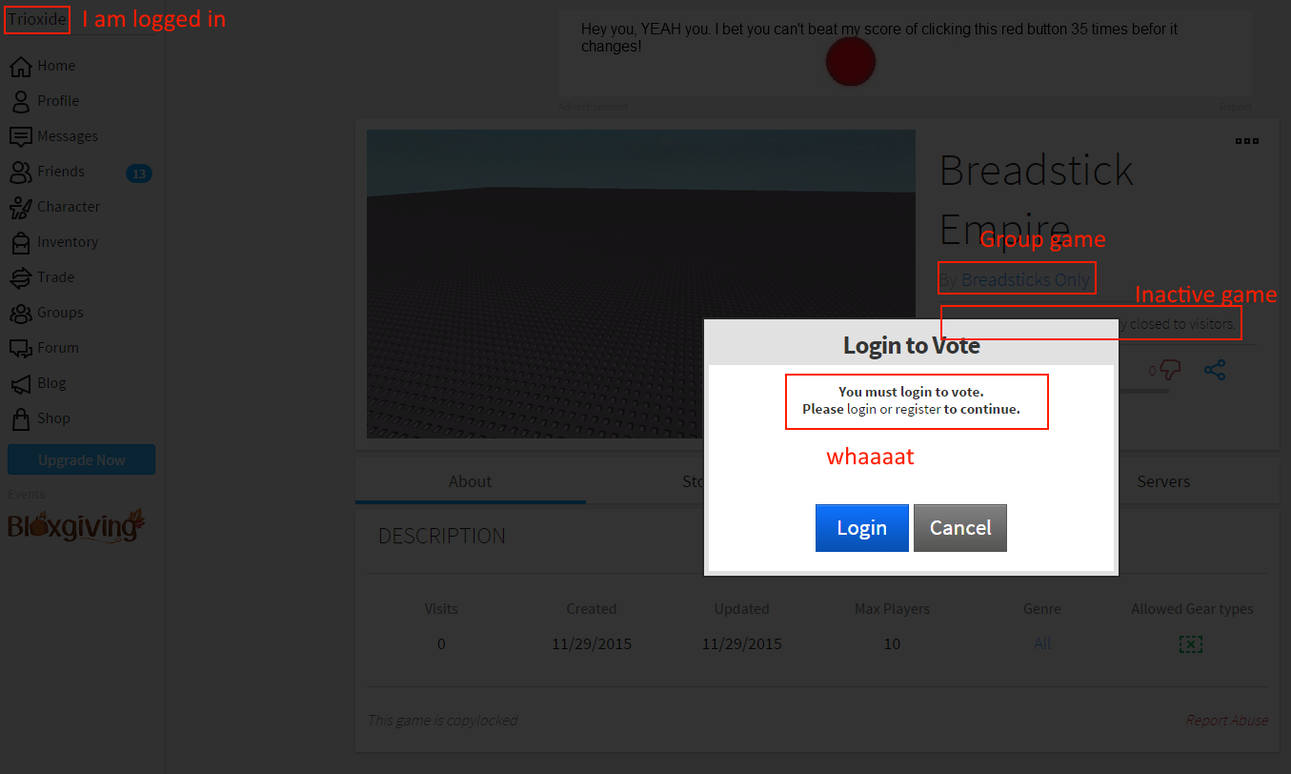 "Rating an unvisited & inactivate group game tells you to ""login to vote"" -  Website Bugs - Roblox Developer Forum"