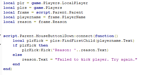 Kick Ban Gui Issues Scripting Support Roblox Developer Forum