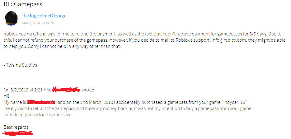 Roblox Customer Service Refund Players Asking For A Refund What Do I Do Game Design Support Roblox Developer Forum
