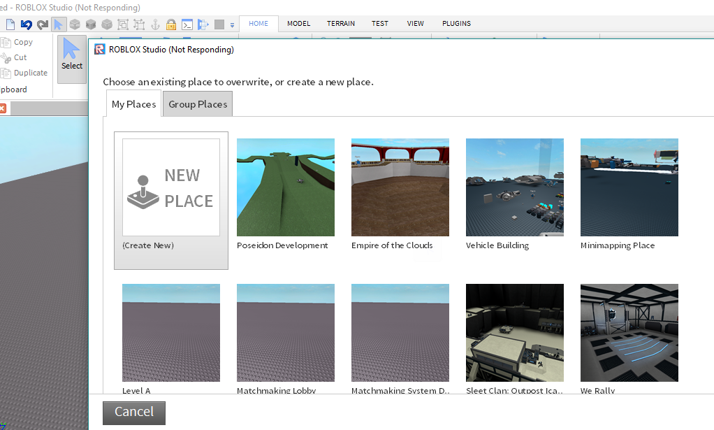 Create New Place Button In The Develop Page Website Features