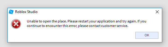 Roblox Studios Help Unable To Open The Place Error Studio Bugs Roblox Developer Forum