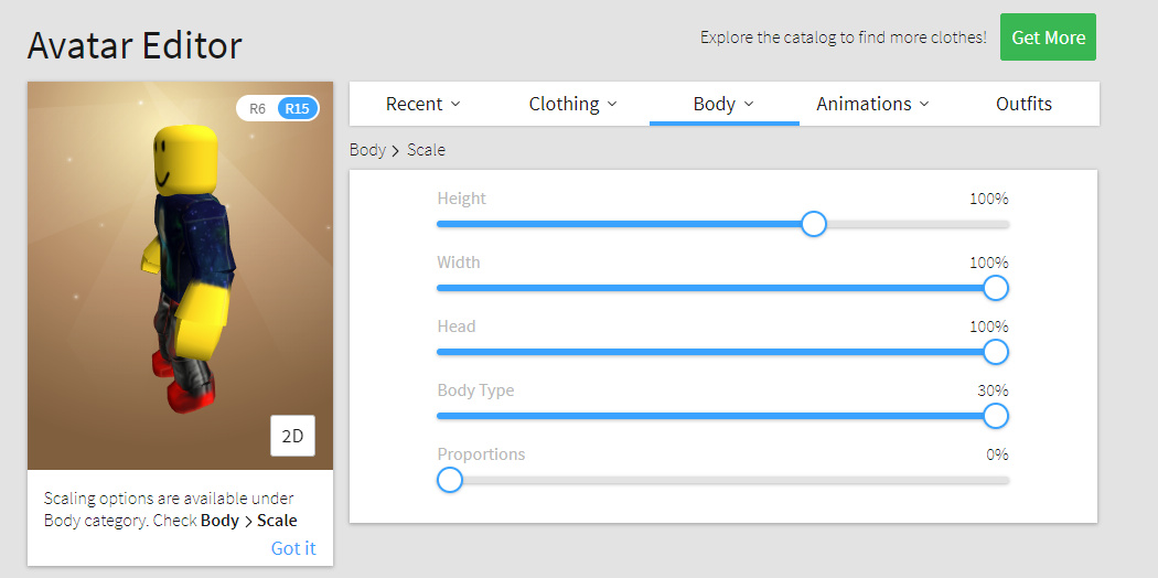 roblox enhanced avatar scaling options public updates and