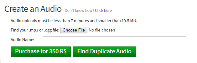 Allow Uploader To Find Duplicate Audio Website Features Roblox