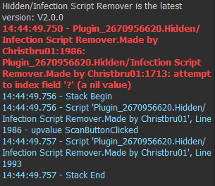 Roblox Console Scripts Pastebin V2 1 Plugin Hidden Backdoor Infection Script Detector Detects Removes Infections From Malicious Plugins Community Resources Roblox Developer Forum