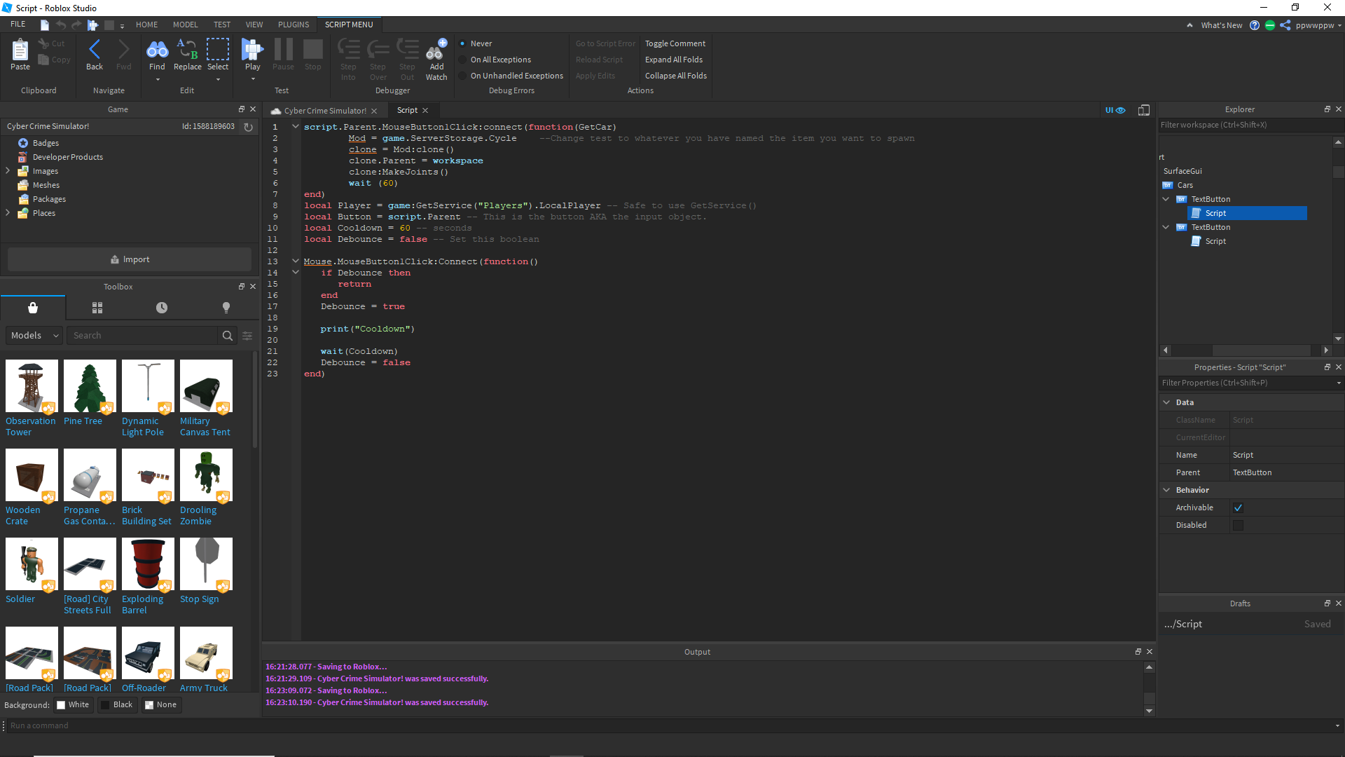 Roblox Scripts Down Can Someone Help Me Code A Cool Down On This Scripting Support Roblox Developer Forum