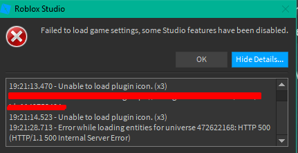 Failed To Load Entities For Universe Game Settings Studio Bugs