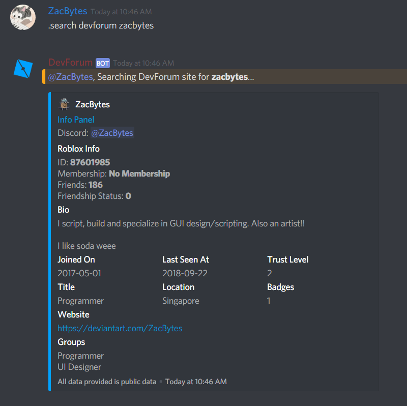 Roblox User Lookup Discord Bot Release Community Resources Roblox Developer Forum