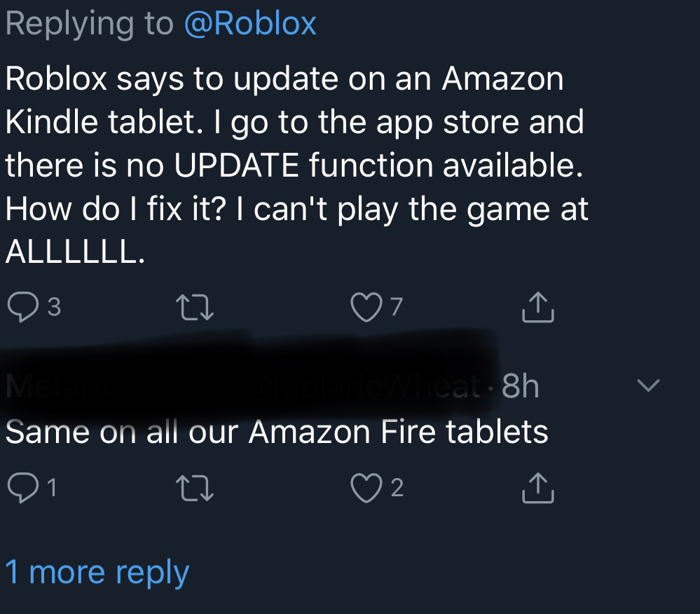 Kindle Fire Needs To Update Roblox But No Update Available