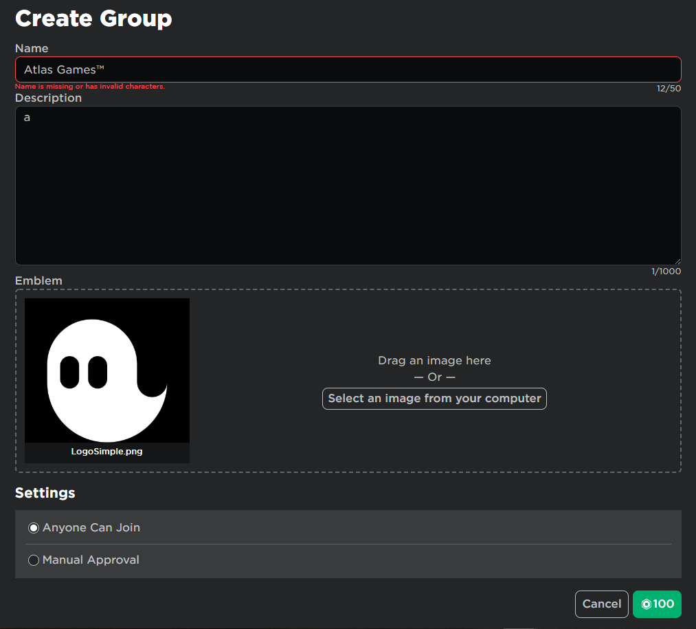 Roblox Group Character Images Creating Groups Not Accepting As A Valid Character Website Bugs Roblox Developer Forum